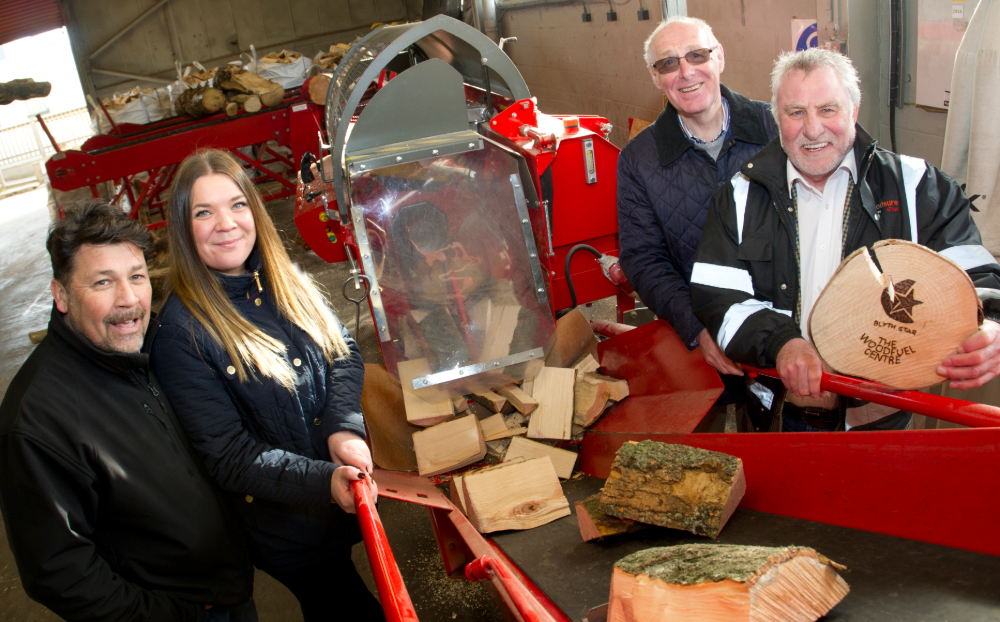 (L to R) Woodfuel Centre Manager, Neil Hedley with Faye Dent and Eric Morgan from the Reece Foundation with Gordon Moore, Chief Executive at Blyth Star Enterprises.